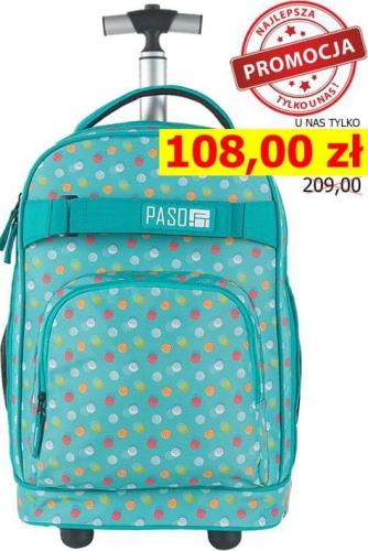 02e137f788d3a Młodzieżowy plecak szkolny na kółkach Unique PASO - 17-1230 UB MINT SPOT  miętowy w kolorowe kropki