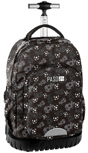 bd30715c5be64 Młodzieżowy plecak szkolny na kółkach Unique PASO - 18-1231 FF Piłka Nożna