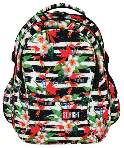 391806697c8c8 ST.RIGHT BP-01 TROPICAL STRIPES KWIATY HIBISKUSA Plecak Młodzieżowy Szkolny