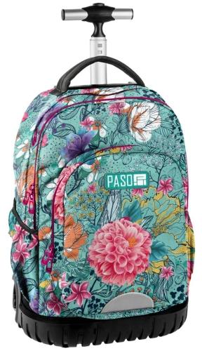 3266bac0fccc0 Młodzieżowy plecak szkolny na kółkach Unique PASO - 18-1231 EW W kwiaty