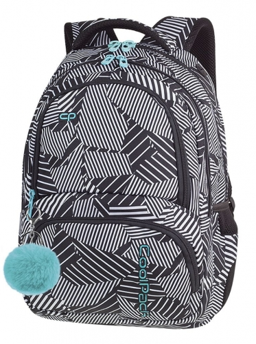 980a3c9a1b505 CoolPack BLACK & WHITE + POMPON Spiner plecak szkolny, młodziezowy ...