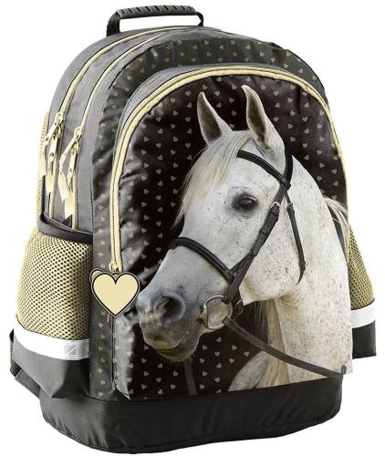 8f3860fc49f9c Plecak szkolny z koniem, koń, złoty konik 18-116 HS - plecaki.com.pl
