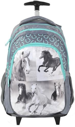 fb2ea4511bf86 Plecak szkolny na kółkach z Koniem Koń Konie szary 17-997H - plecaki ...