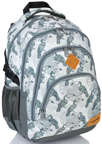 38cc7fcabb836 Plecak szkolny młodzieżowy HEAD szary w ptaki HD-48 - plecaki.com.pl