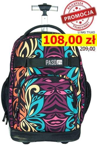 3f69ed8b7ee7c Młodzieżowy plecak szkolny na kółkach Unique PASO - 17-1230 UW Wild Flower