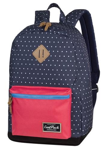 1459e730c5b87 CoolPack NAVY BLUE DOTS Grasp plecak szkolny, młodziezowy, vintage,  granatowy w białe kropki z koralową kieszenią 36214CP (A125)