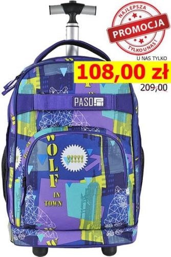 a551982ec33d4 Młodzieżowy plecak szkolny na kółkach Unique PASO - 17-1230 UE WOLF IN TOWN