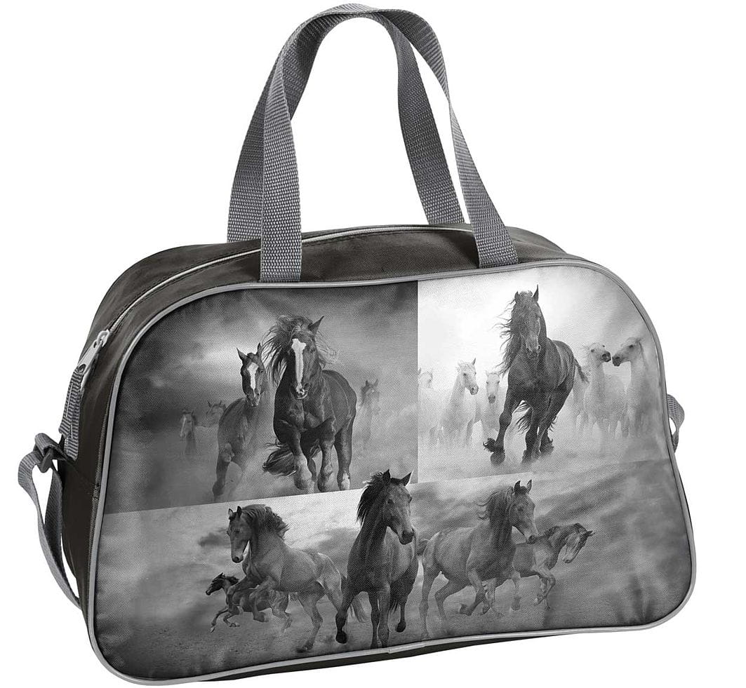129634e7dff16 Torba dziecięca sportowa z koniem, koń, czarno-biały konik 17-074 HO ...