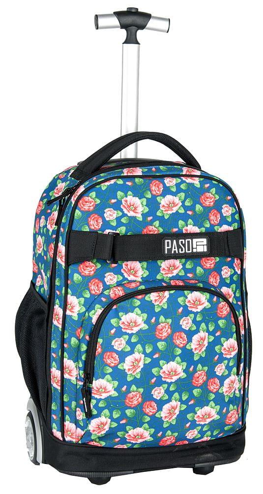 0643f63457d53 Młodzieżowy plecak szkolny na kółkach Unique PASO - 17-1230 UV Flower róże
