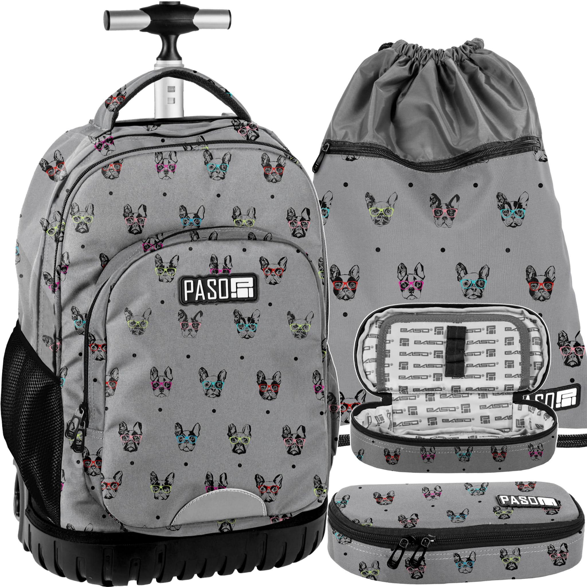 e0d90b376e7be Zestaw młodzieżowy 3-elementowy PASO, plecak szkolny na kółkach ...