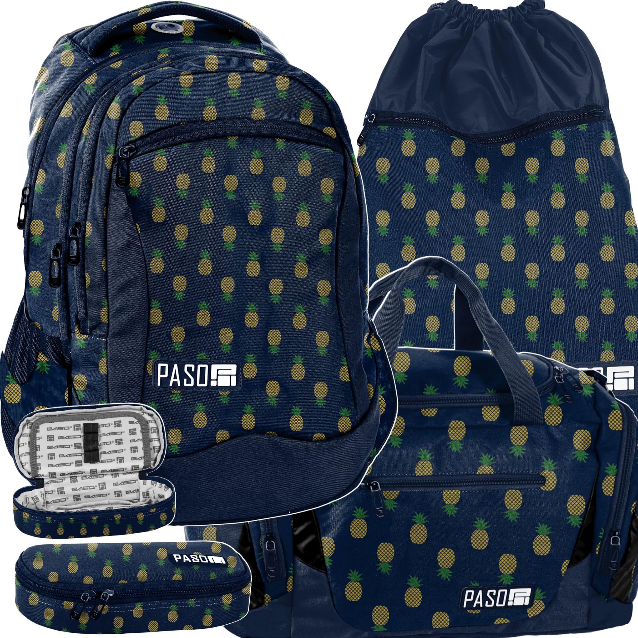 4a90844017b8a Zestaw młodzieżowy 4-elementowy PASO, plecak szkolny, piórnik, worek ...