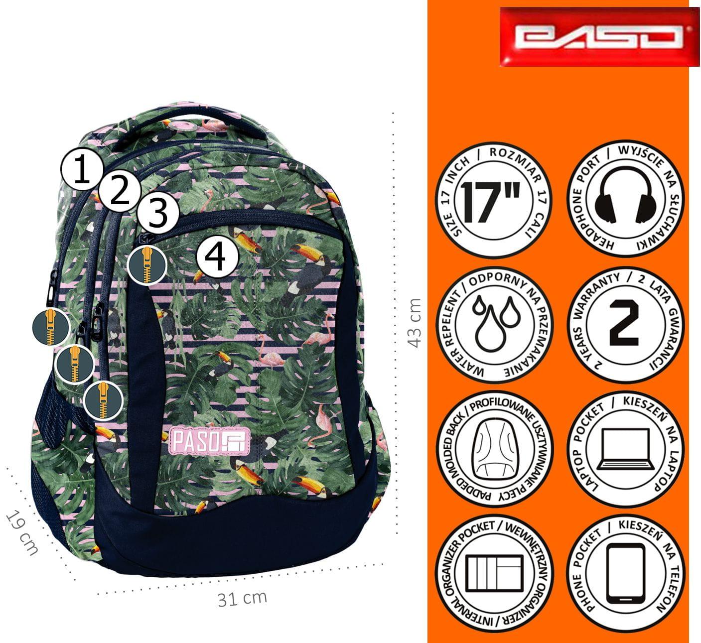 12b689959d17b Zestaw młodzieżowy 3-elementowy PASO, plecak szkolny, piórnik, worek ...