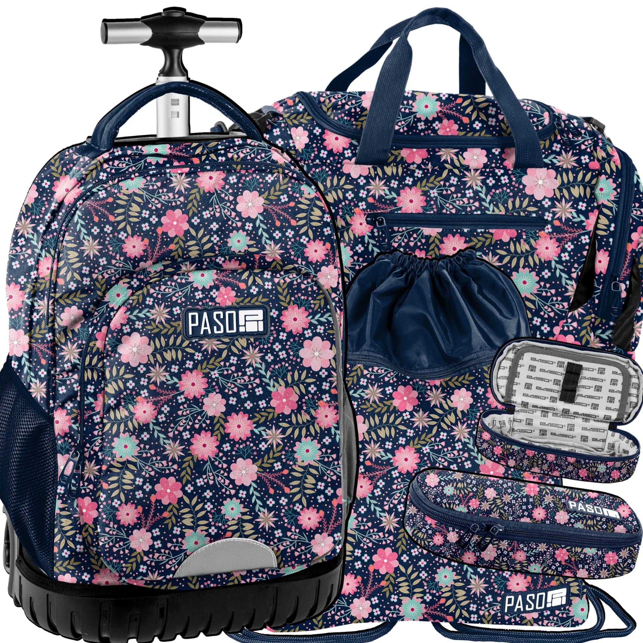 59d41bc71d49cd Zestaw młodzieżowy 4-elementowy PASO, plecak szkolny na kółkach ...
