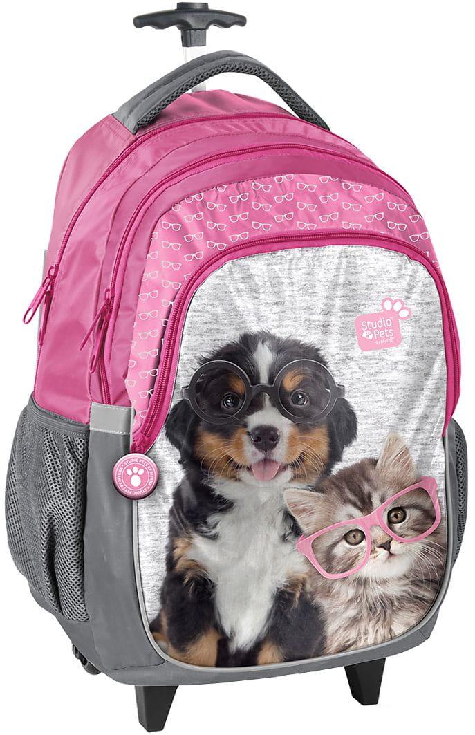 86bef5c99f259 Plecak szkolny na kółkach z pieskiem i kotkiem, pies i kot, piesek ...