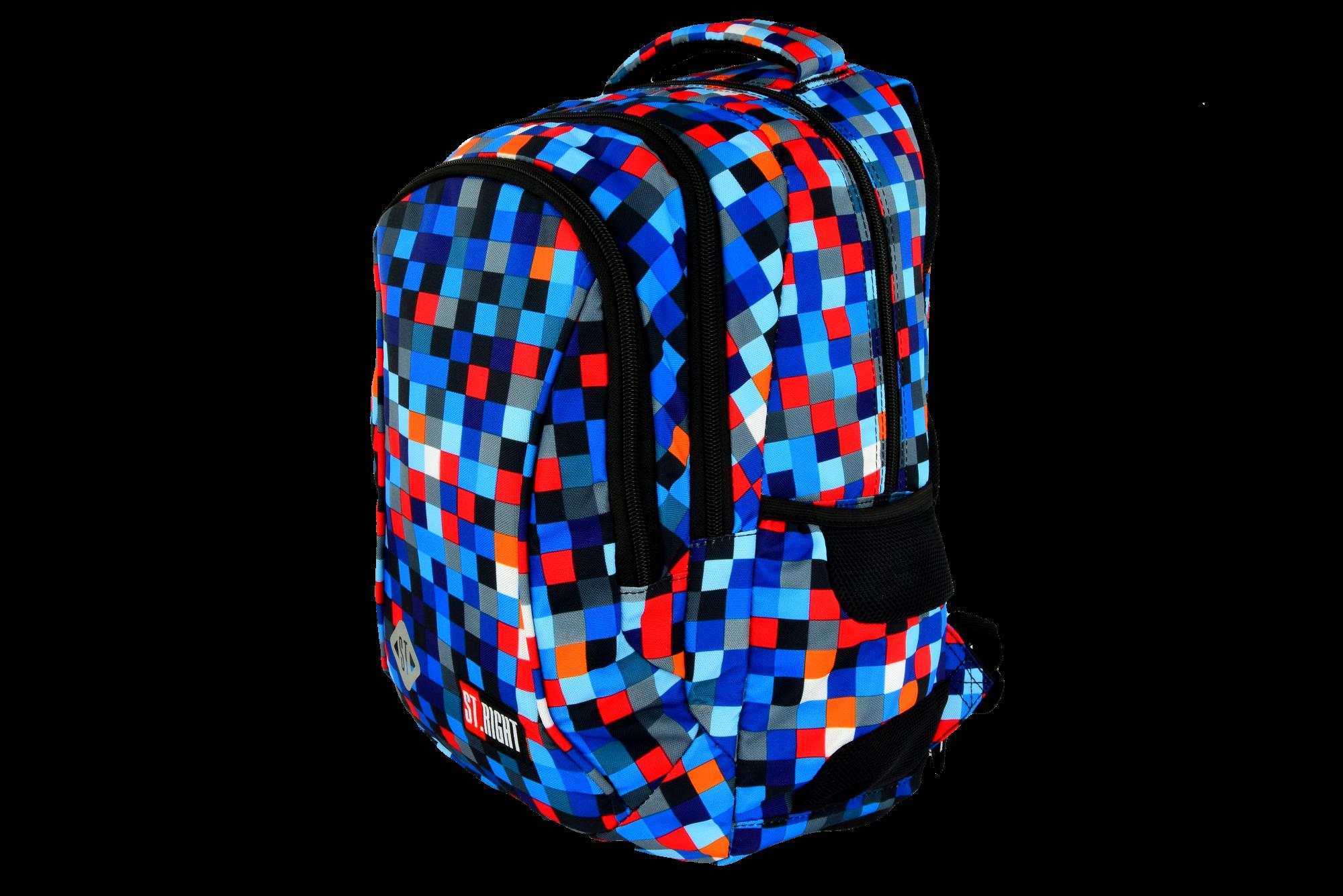 b1707ee59979c ST.RIGHT BP-26 PIXELMANIA BLUE Plecak Młodzieżowy, Szkolny 3 komory ...