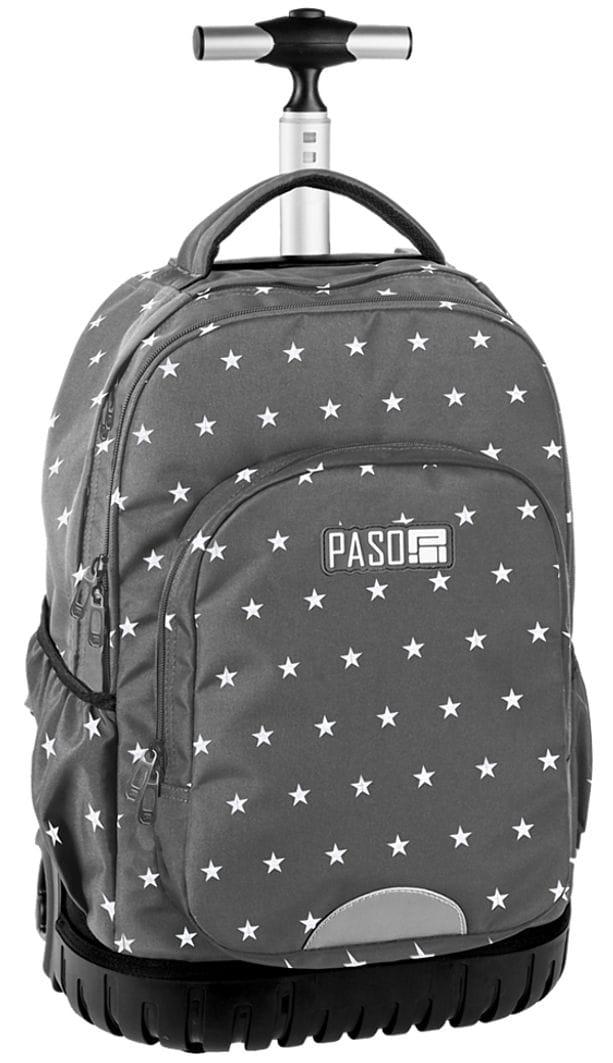 7e3940d2eb083 Młodzieżowy plecak szkolny szary w gwiazdki na kółkach Unique PASO -  18-1231 GT