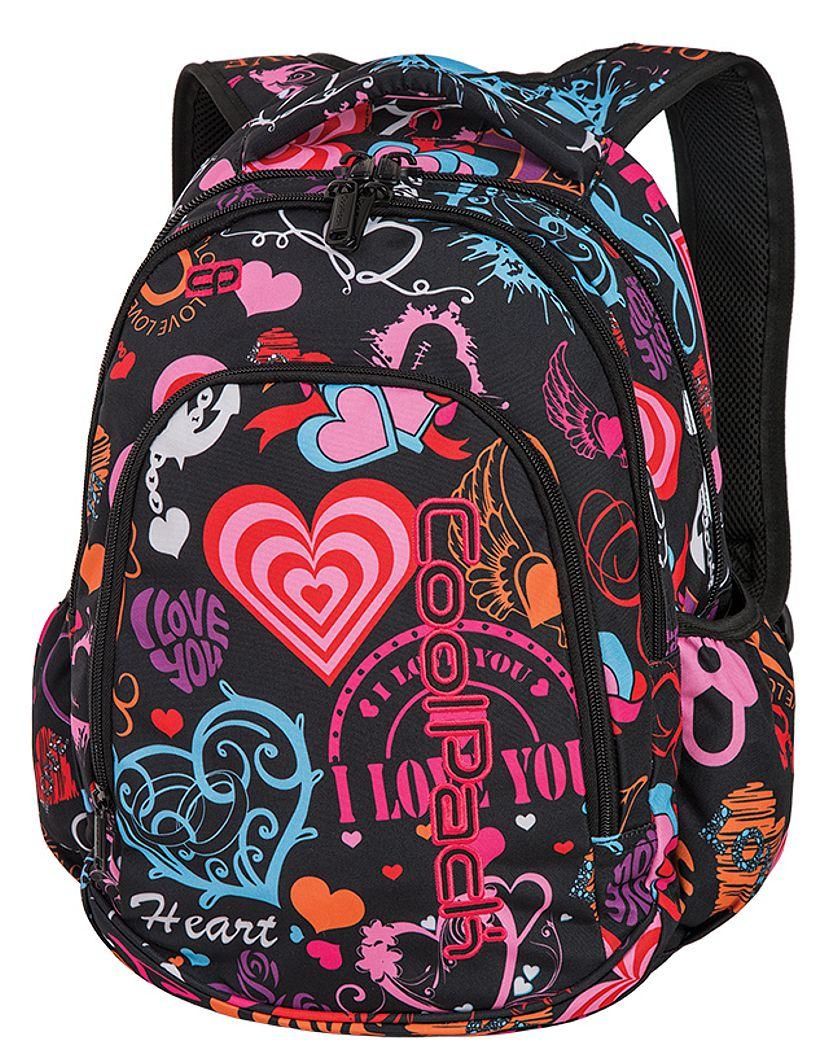 CoolPack EMOTIONS + TORBA TERMICZNA Prime plecak szkolny, młodzieżowy, różnokolorowe serduszka i napisy 86738CP (A255)