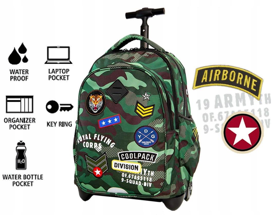 CoolPack MORO GREEN BENTLEY Junior 34l plecak szkolny na kółkach A28110